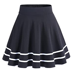 DRESSTELLS Falda Mujer Mini Corto Elástica Plisada Básica ...