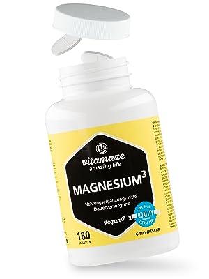 Magnesio³ Complejo de 350 mg magnesio elemental 180 comprimidos vegano - óxido de carbonato de citrato de magnesio - sin estearato de magnesio