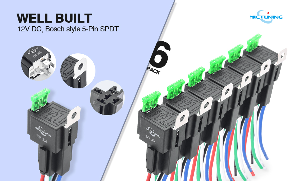 MICTUNING Arneses de Interruptor de Relé de Fusible de 12 V,Fusible de Cuchilla ATO ATC de 30 A, Relés SPST de 4 Clavijas con Cables de 14 AWG para ...