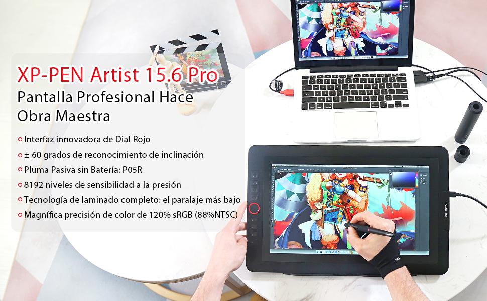 XP-PEN Artist 15.6 Pro Tableta Gráfica15.6 Pulgadas HD IPS P05R ...