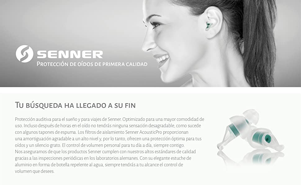 Senner TravelPro tapones blanco para oídos (SNR 23dB) con soporte ...