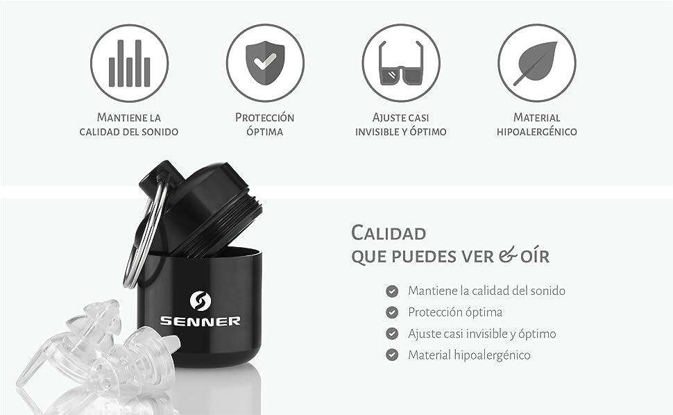 Protección de oídos sin pérdida de calidad del sonido y buena apariencia con los tapones transparentes de Senner.