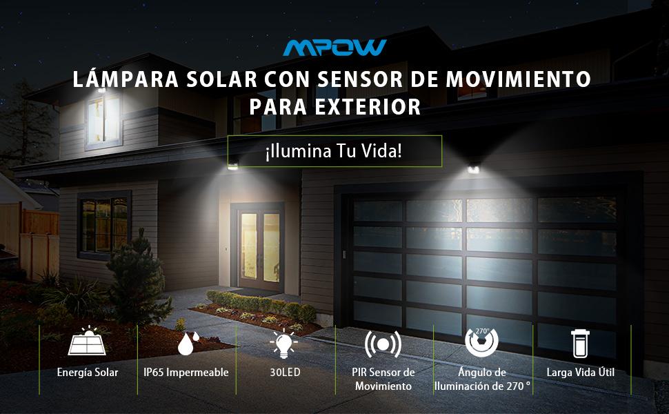 LAMPARA SOLAR MPOW SENSOR DE MOVIMIENTO EXTERIOR