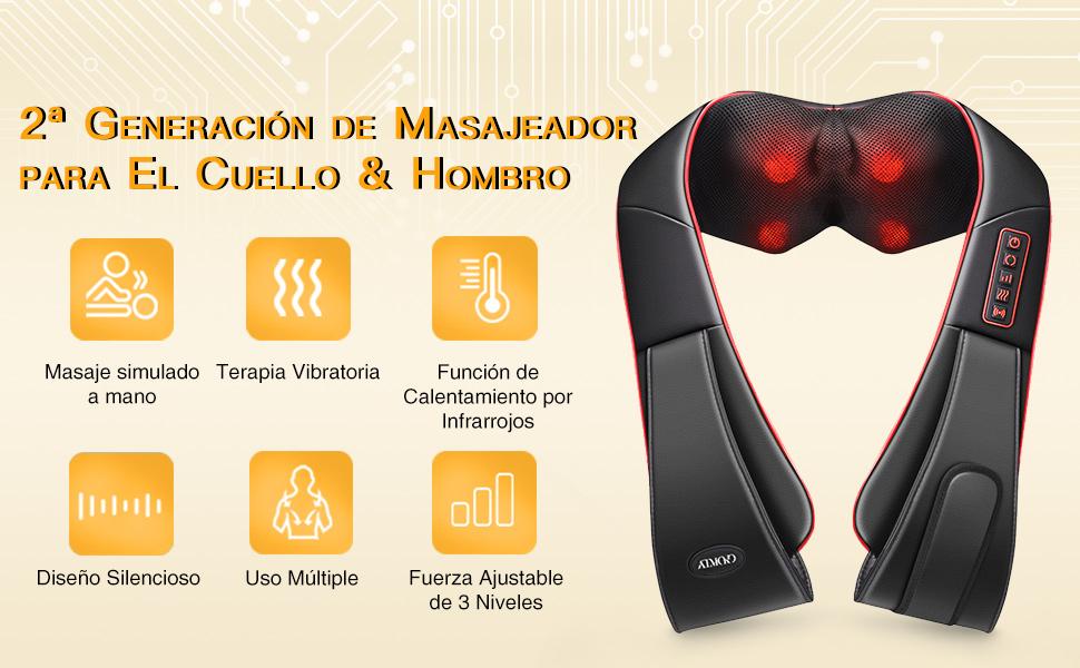 ATMOKO Shiatsu Masajeador Cervical de Mano Libre con Función de Vibración, 3D Rotación con Calor, 3 Intensidades y 5 Botones, para Hombros/Cuello ...