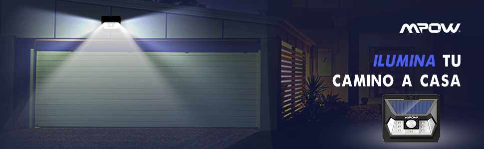 Mpow Luz Solar de Exterior con Sensor de Movimiento, Lámpara Solar Impermeable de Exterior, Foco Solar LED con Iluminacion Continua para Jardín, Patio, Pared, Porche, Garaje, Terraza: Amazon.es: Jardín