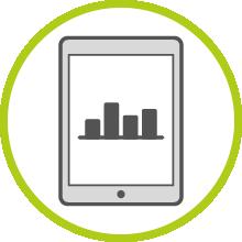 Un símbolo que muestra el resultado en forma de un informe de resultados online.