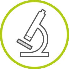 Un símbolo que representa el análisis de la muestra de sangre en el laboratorio.