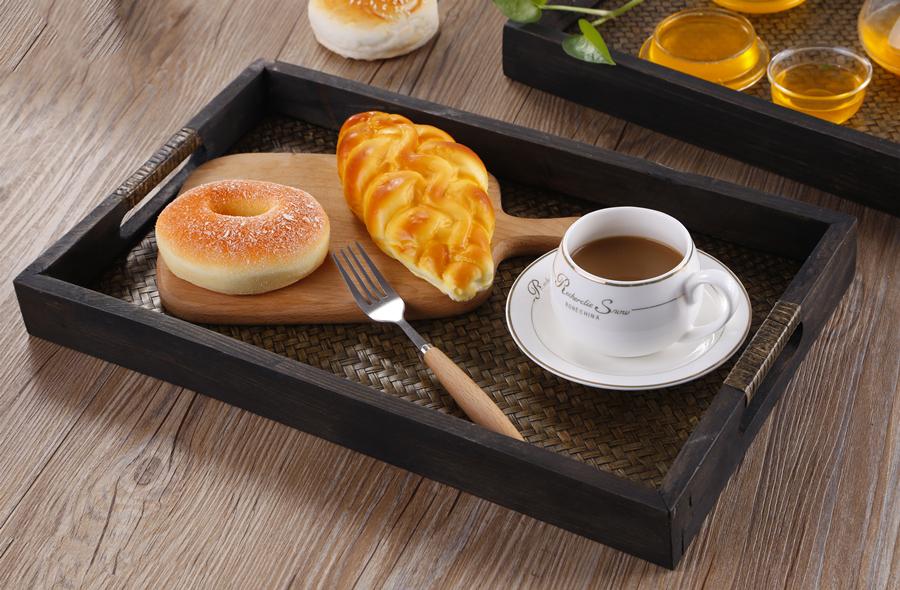 Somine - Bandeja para servir de madera de bambú, superior, con plato de diseño rústico, bandejas para servir comida en el hogar, cocina, restaurantes y ...