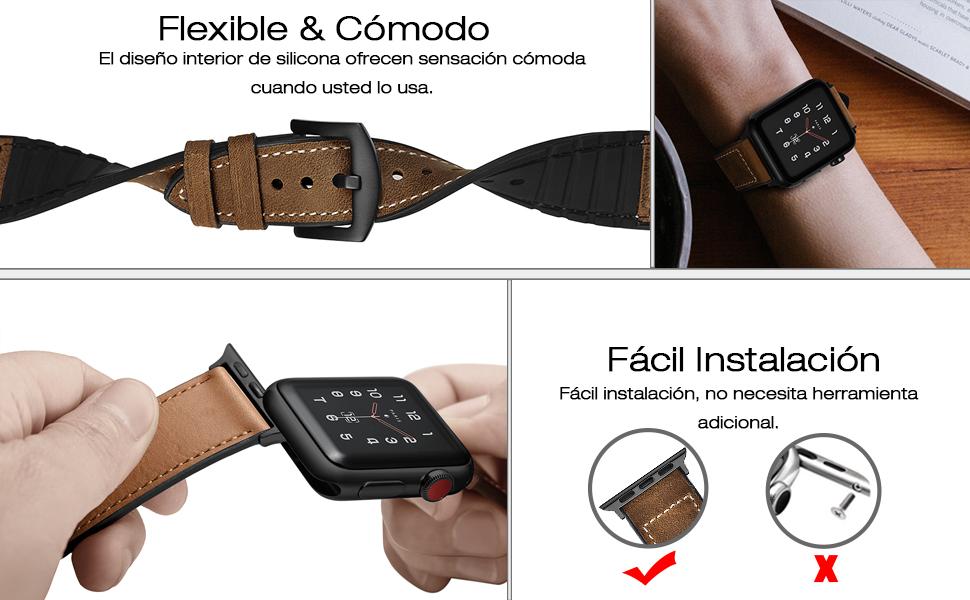 Tasikar para Correa Apple Watch 42mm 44mm Diseño de Cuero y Silicona Compatible con Apple Watch SE Series 6 Series 5 Series 4 (44mm) Series 3 Series 2 Series 1 (42mm): Amazon.es: Electrónica