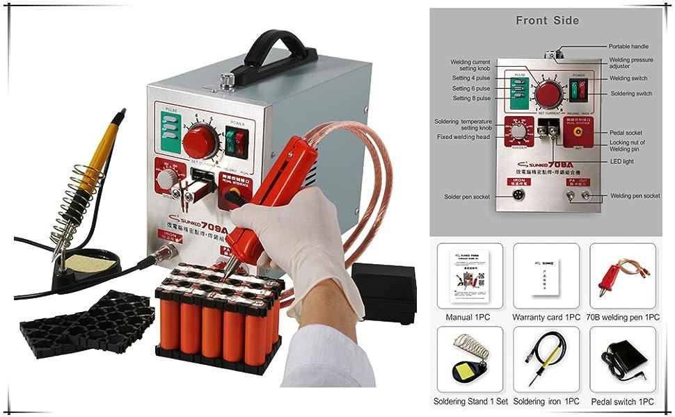 La máquina es una combinación de soldadura por puntos de batería y soldadura de placa de circuito, que hacen su trabajo más conveniente.