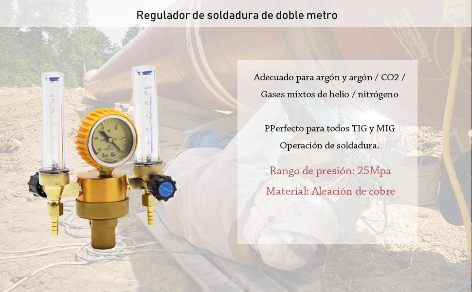 Hanchen Regulador de Presi/ón de Soldadura TIG MIG Medidor de Flujo de Arg/ón CO2 Gas 25 MPa con Doble Caudal/ímetro CE