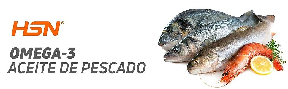 Aceite de Pescado Omega 3 de HSN   1000 mg por cada Perla   18% EPA (Ácido Eicosapentaenoico) EPA y 12% DHA (Ácido Docosahexaenoico)   Con Vitamina E, ...