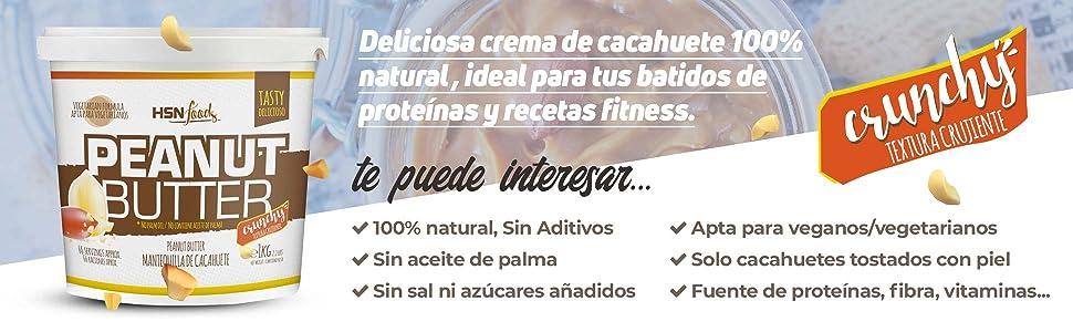 Mantequilla de Cacahuete de HSN | Textura Crujiente - Peanut Butter Crunchy - 100% Natural | Apto Vegetariano, Sin grasa de palma, Sin grasa trans, ...