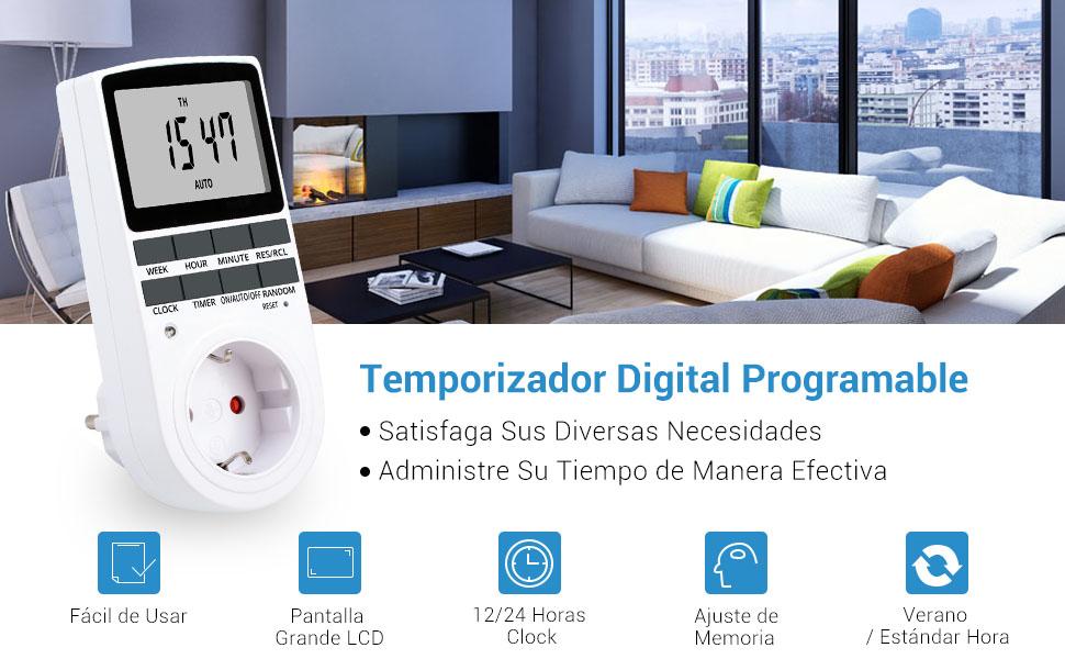 NICREW Temporizador Digital Programable con Pantalla LCD 12//24 Horas 7 D/ías Programador Diario//Semanal para Aparatos Electrodom/ésticos L/ámpara de Mesa Calentador Agua Macbook Tableta