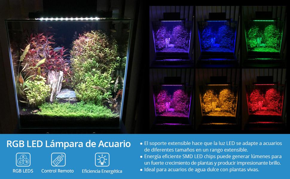 NICREW Luz LED Acuario RGB, Pantalla LED Acuario con Control Remoto, Iluminación LED para Acuarios Plantados Lámpara LED para Peceras 30-48 cm, 6W ...