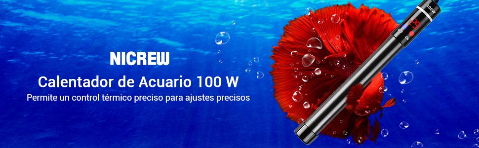 NICREW Calentador de Acuario 100W, Calentador Sumergible con ...