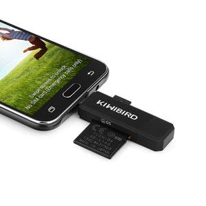 KiWiBiRD Lector Tarjeta de Memoria SD/Micro SD, Adaptador Micro USB OTG y Lector de Tarjetas USB 2.0 Computadoras de Escritorio y Portátiles/Teléfonos ...