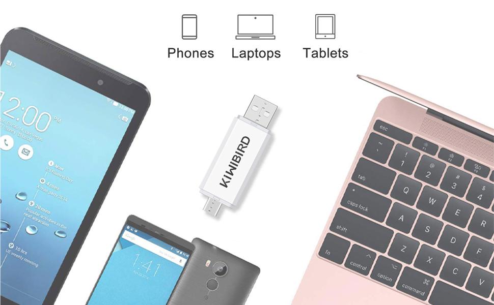KiWiBiRD Micro USB Adaptador USB 2.0 OTG, Micro USB & USB 2.0 SD ...