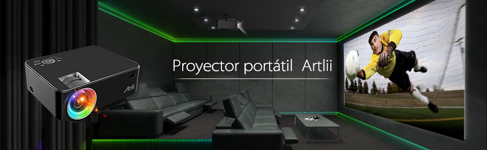 Artlii Proyector Portátil, Mini Proyector 2000 Lúmenes, soporta 1080p Full HD,con HDMI, USB, SD, AV, VGA e Interfaz de Auriculares, Conectar Tablets, ...