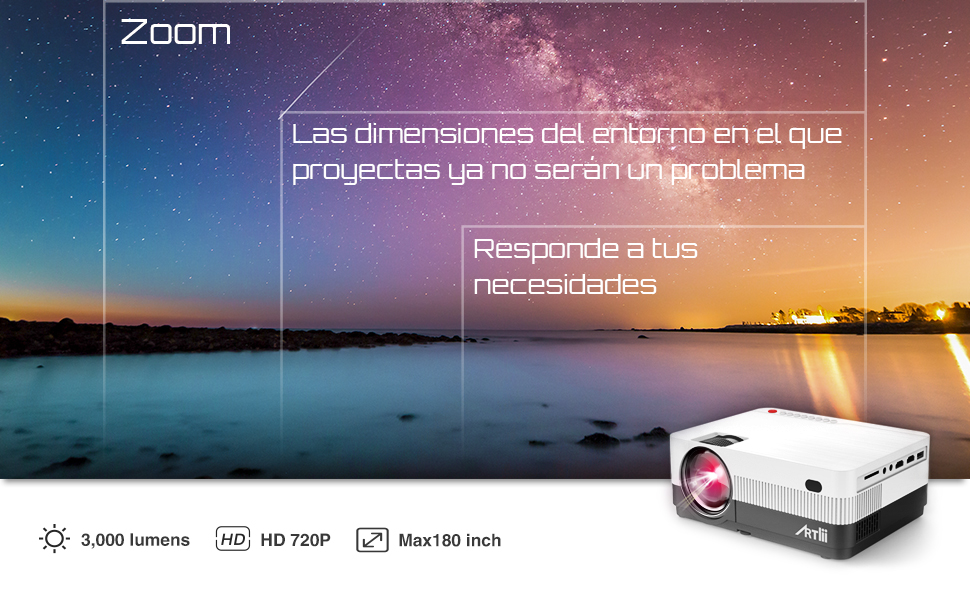 Proyector Portátil Zoom - Artlii Proyector HD 720P soporta Dolby y ...