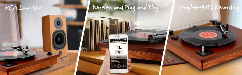 1 BY ONE Wireless Tocadiscos Estéreo Portátil con Altavoces ...