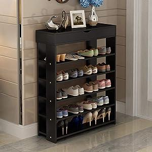 soges Estante para Zapatos de 5 Gradas de Madera Sólida Estante de Almacenamiento de Zapatos Organizador para Cosas, de Color de la Negro - L24-BK