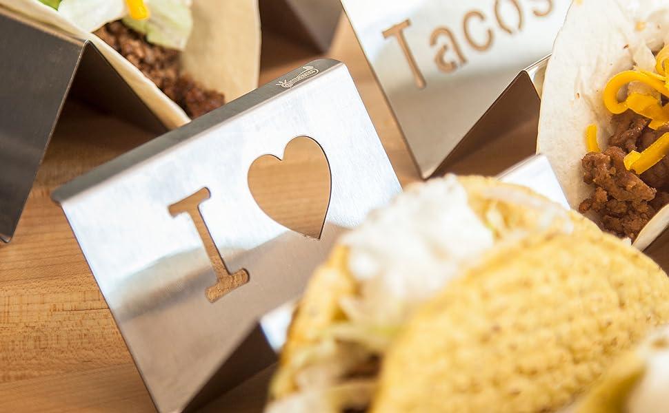 KITCHENATICS Soporte para Tacos Mexicanos: 2 bandejas de Rejilla metálica - Apto para Parrillas, hornos y lavavajillas - ((Paquete de 2) - Verter 2-3 ...