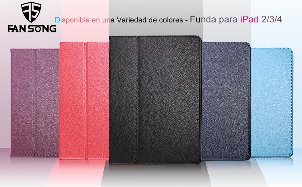 Funda para iPad 2/3/4, FANSONG Carcasa Protectora de Cuero sintético con Soporte, función de Sueño/Estela automático para iPad 2, iPad 3, iPad 4(Azul ...