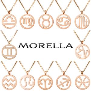 Morella collar plata oro rosa cadena de oro letras del zodiaco mujeres joyería de moda femenina