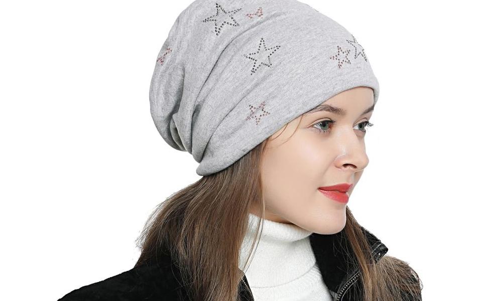 DonDon Mujer Gorro de invierno con estrella plata estrás estrella ...