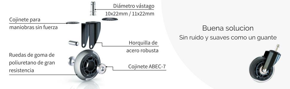 WILD OX Ruedas para Sillas de Oficina | Ruedas Silla Oficina ...