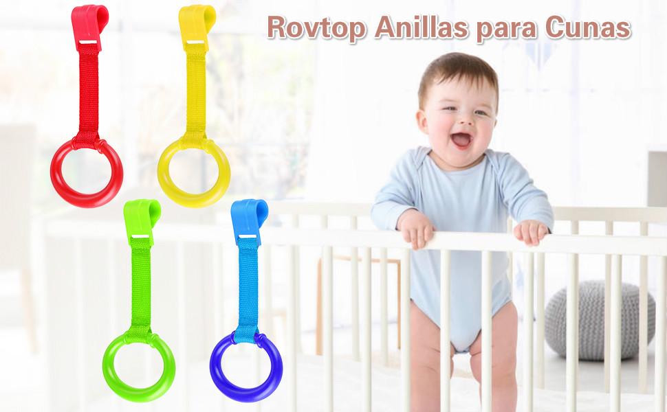 Rovtop 10 Packs Anillas para Cunas y Parques - Ayuda a Su Bebe a Ponerse de Pie Facilmente (Diámetro Máximo del Anillo de Mano de 9CM) (Diámetro 9cm)