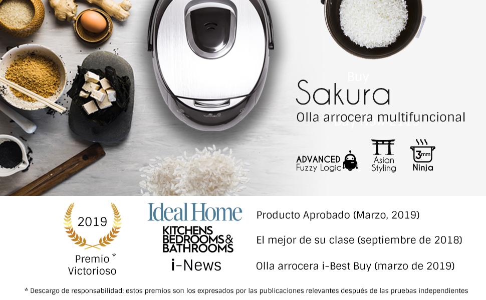 Yum Asia Olla arrocera Sakura con Cuenco de cerámica y lógica difusa Micom, 6 Funciones de cocción de arroz, 6 Funciones de multicocina, Pantalla LED ...