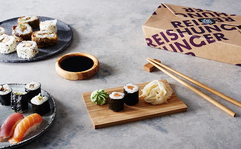 Reishunger - Kit para servir sushi (4 piezas, para 2 personas) de ...