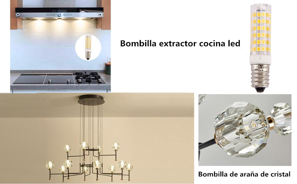 Bombilla extractor cocina, ZSZT bombilla led e14 7w rosca Edison pequeña (SES), equivalente a bombilla halógena de 50W, Blanco cálido 3000K, 2 unidades: Amazon.es: Iluminación