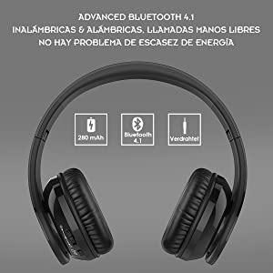 Auriculares Bluetooth, Crabot Wireless Over Ear Hi-Fi Auriculares ...