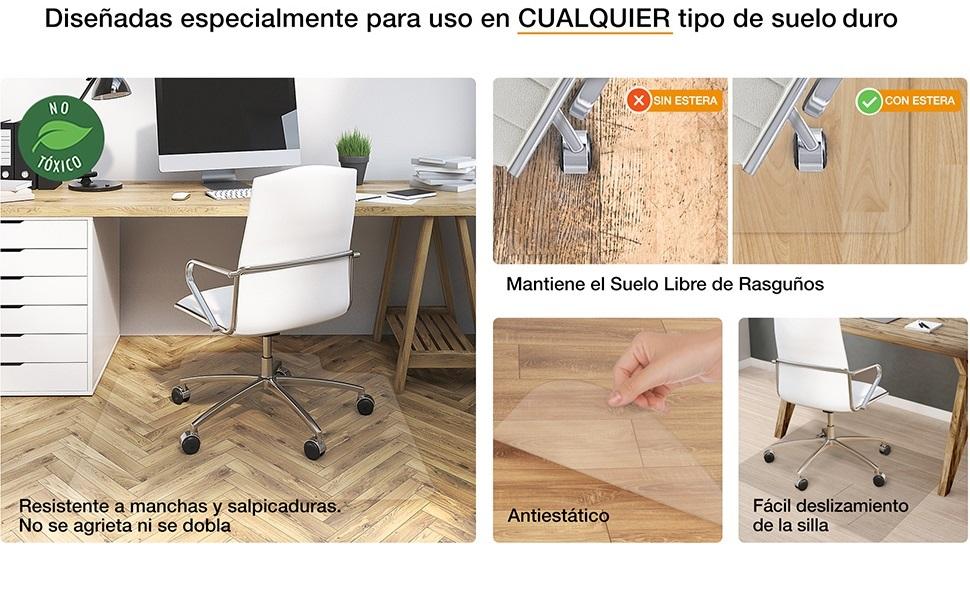 estera silla oficina alfombra suelo alfombrado proteccción silla ruedas escritorio vinilo plástico