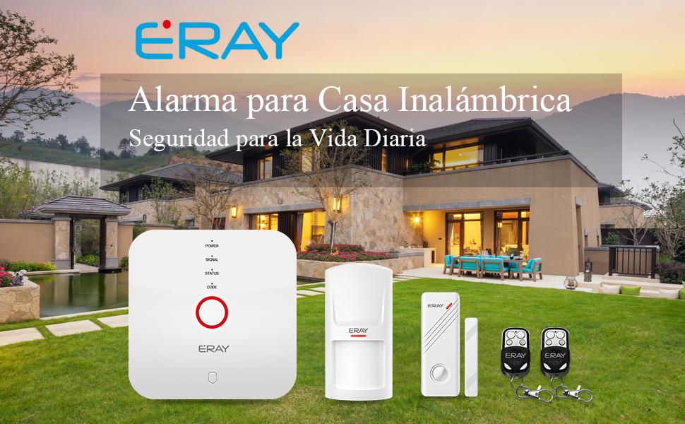 ERAY Alarmas para Casa WiFi, Antirrobo, Inalámbrico, App en Castellano, Servicio + Garantía, Accesorios y Pilas Incluidas, 433MHz