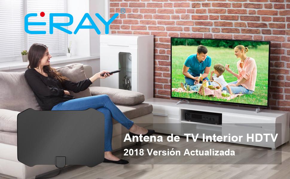 Antena de TV, ERAY Antena Interior HDTV, 80Miles Rango de Recepción, 15FT/ 4M de Cable, Alto Rendimiento, Compatible con el Canal 4K 1080P HD, ...