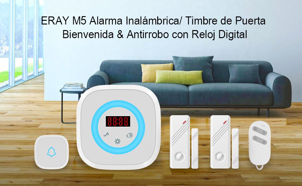 ERAY Kit de Alarma Timbre de Puerta & Antirrobo, Reloj Digital, 1xReceptor + 2xSensores de Puerta + 1xTimbre/ Botón SOS + 1xControl Remoto, LED Flash/ ...