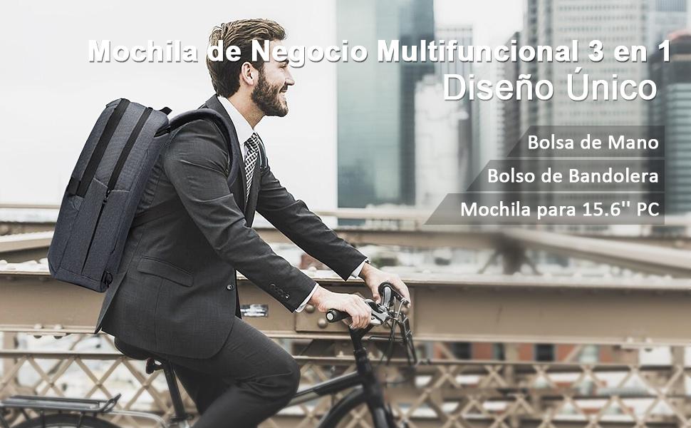 ERAY Mochila de Viaje, Mochila de Negocio para 15.6'' Portátil + Bolso de Mano + Bolso de Bandolera, 3 en 1 Multifuncional, Impermeable y Gran