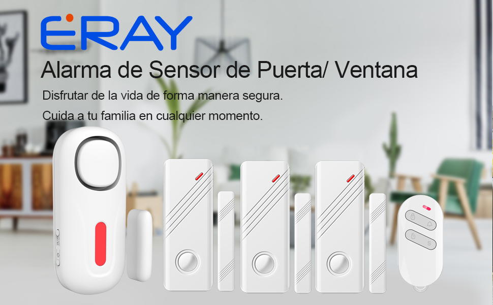 ERAY D2 Kit de Alarma Inalámbrico 120dB - 1 x Alarma de Puerta + 3 x Sensores de Puerta o Ventana + 1 x Mando a Distancia + Pila Incluida - Antirrobo ...