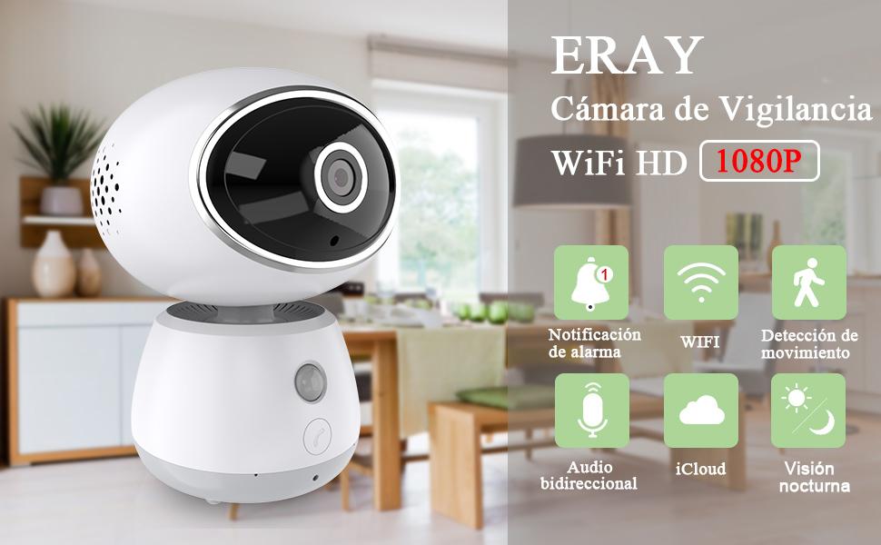 ERAY Cámara IP WiFi, Cámara de Vigilancia, SOS, HD 1080P 2,0MP, Visión Nocturna, Detección de Movimiento, Audio Bidireccional, Alarma de Seguridad con ...