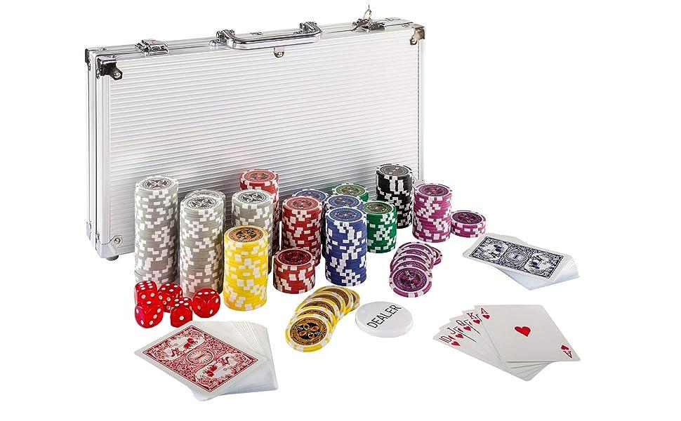Maxstore Ultimate Pokerset con 300 Chips láser 12 Gramos núcleo de ...