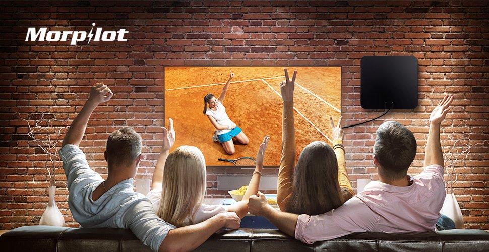 TV Antena Digital, Morpilot Antena de TV Interior de Rango Amplificado de 95 km (60 Millas) con Amplificador de Señal y Amplificador Avanzado y Cable ...