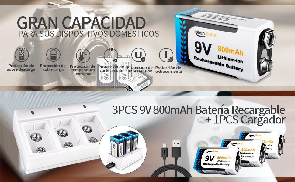 Juego de 3 PCS 9V Pilas Recargables y Cargador de 3 Ranuras 9V Keenstone 800mAh Batería de Litio 9V PP3 Recargable Baja Autodescarga Densidad de Alta ...