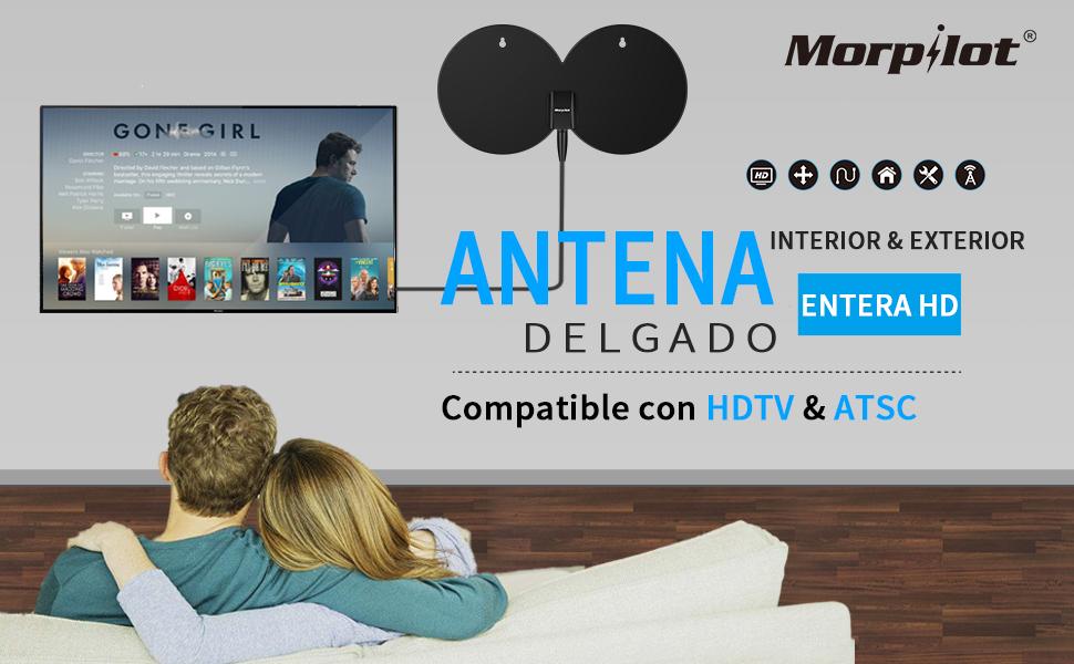 Morpilot Antena Digital de TV, Antena Interior/Exterior HDTV - Más de 120KM de Excelente Rendimiento + Un Soporte