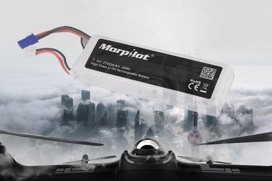 morpilot Hubsan X4 H501 Lipo Batería, 2PCS 2700mAh 7.4V 10C 20Wh Batería con USB Cargador para Hubsan H501A H501C H501M H501S RC Drone