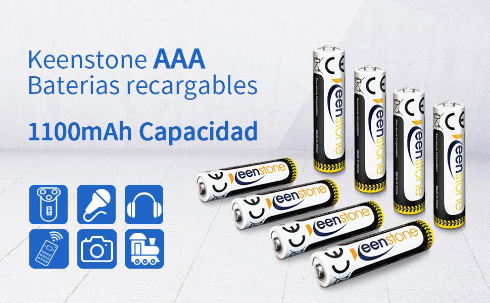 Keenstone Pilas Recargable AAA, 8PCS baterías NIMH de 1.2V 1100mAh Se Carga con el Cargador a 8 ubicaciones, Ideal para Productos de cámara, Linterna y batería Diaria (Pilas Recargable AAA): Amazon.es: Electrónica