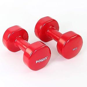 POWRX - Mancuernas Vinilo 18 kg Set (2 x 9 kg) + PDF Workout (Rojo ...